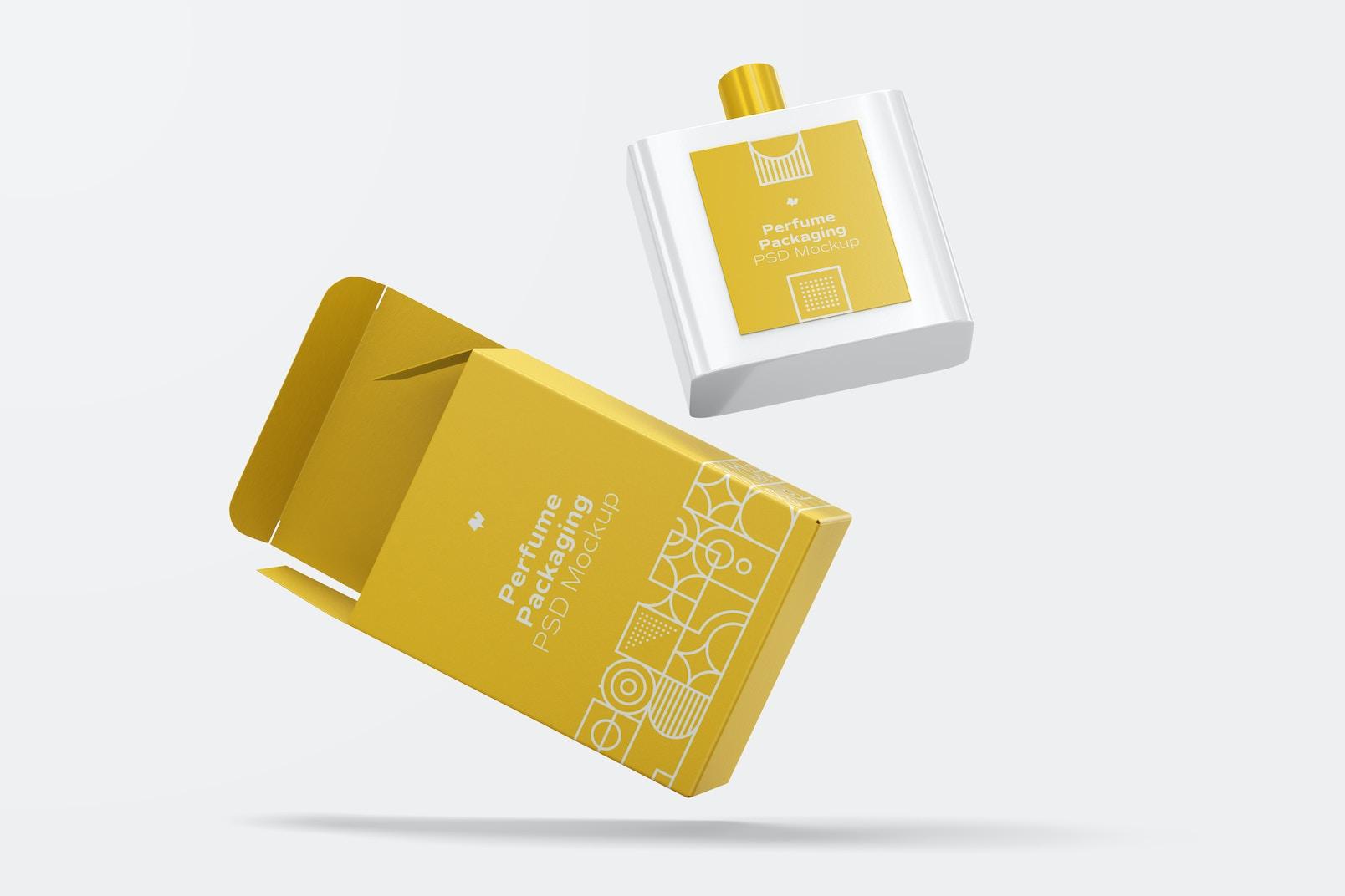 Maqueta de Empaque de Perfume con Botella, Cayendo