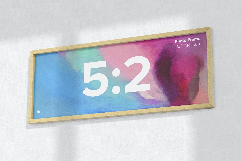 5:2 Photo Frame Mockup, Hanging on Wall