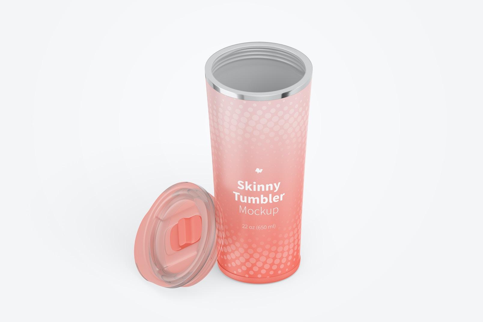 22 oz Skinny Tumbler Mockup, Isometric View