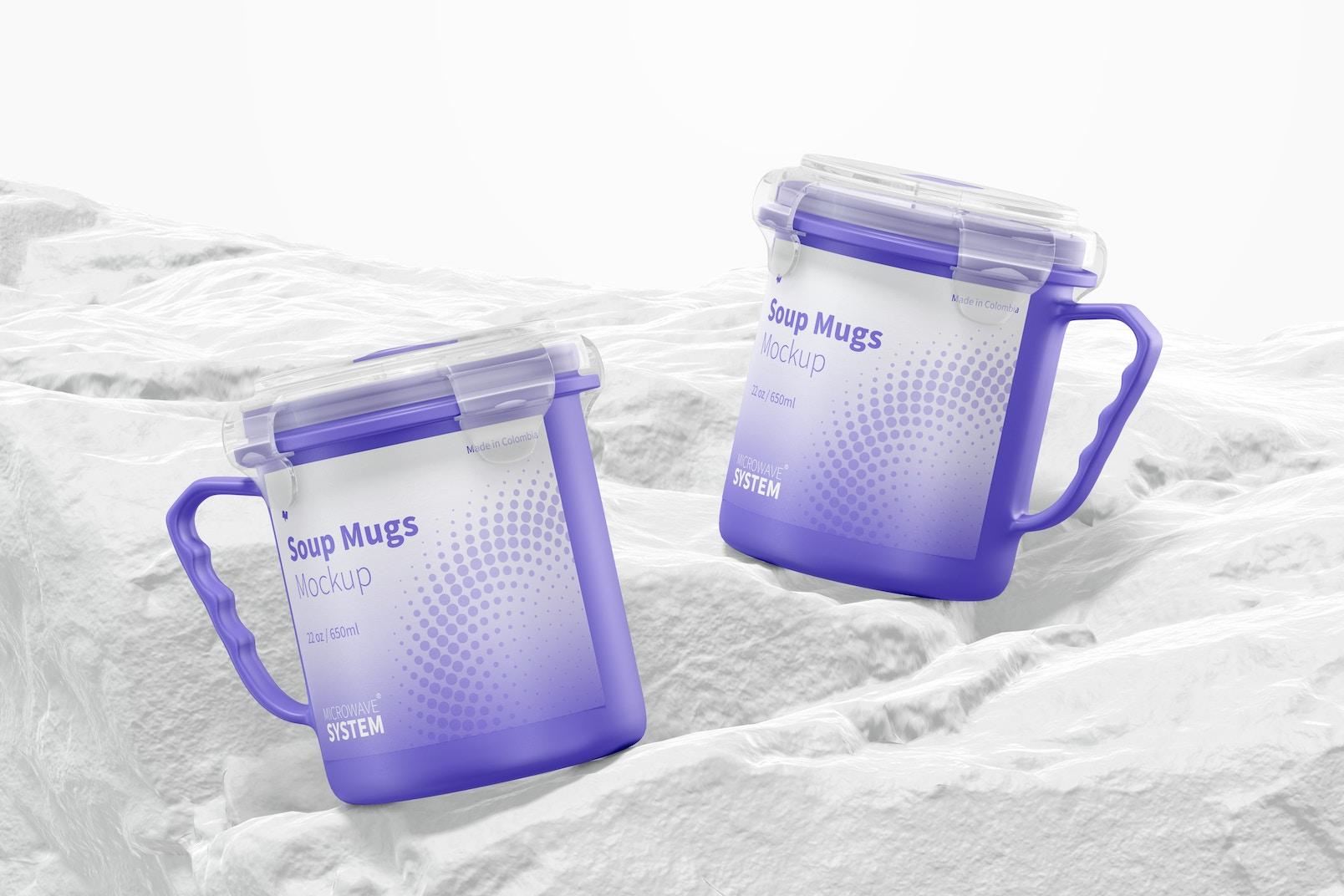 22 oz Soup Mugs Mockup, Front View
