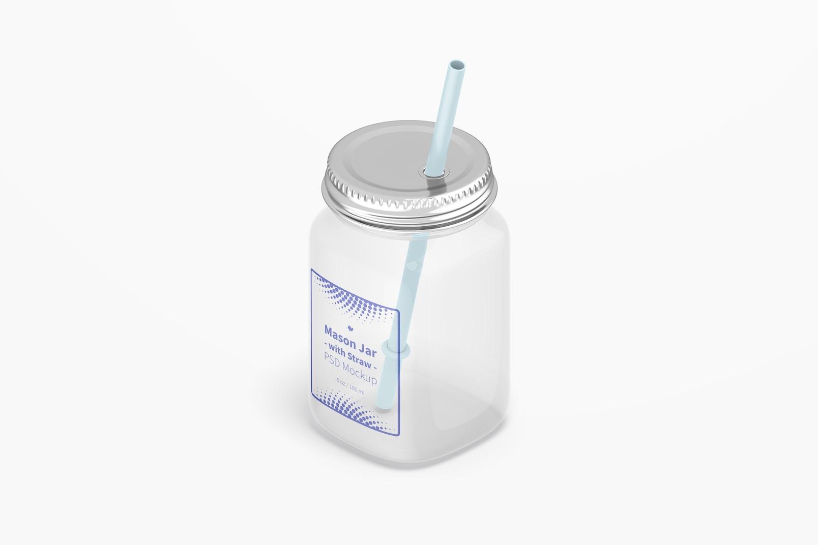 16 oz Mason Jar with Straw Mockup, Isometric Right View