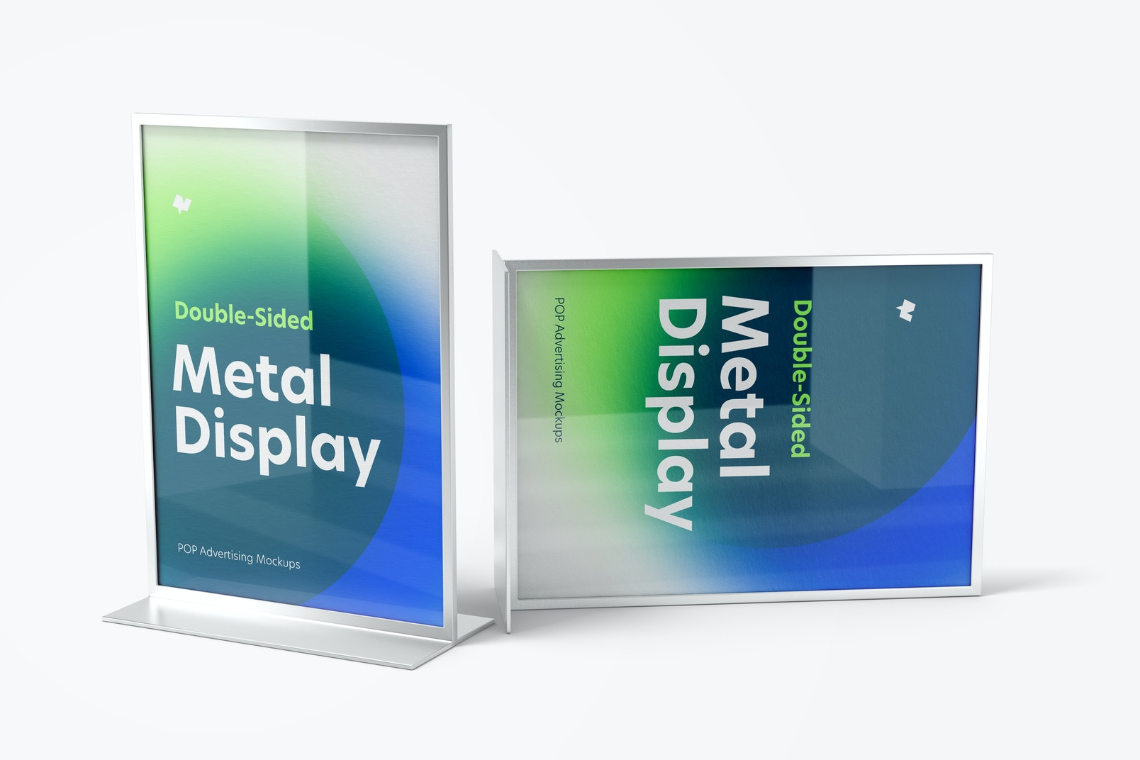 Double-Sided Poster Metal Desktop Display Mockup, Front View