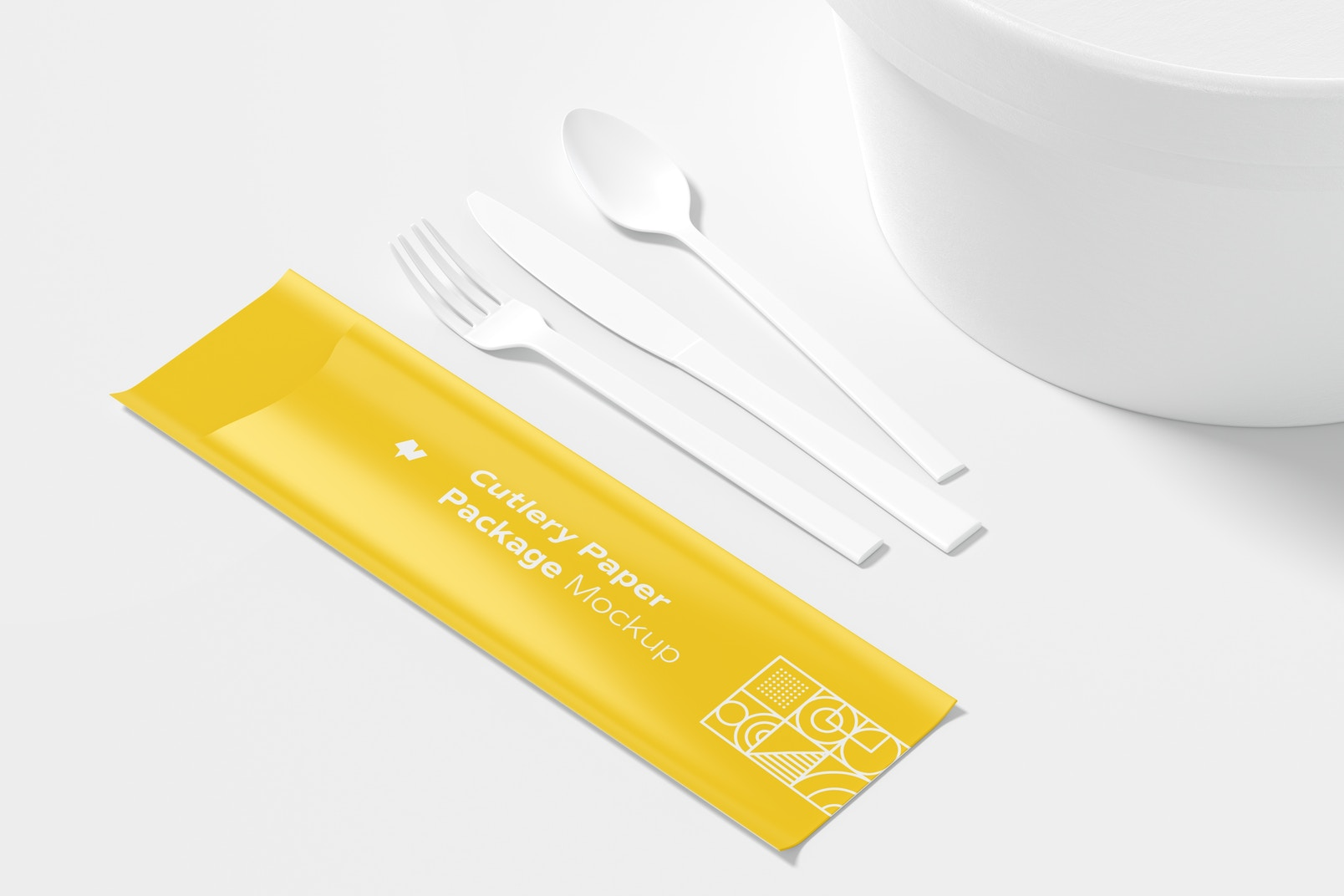 Cutlery Paper Package Mockup, Perspective View