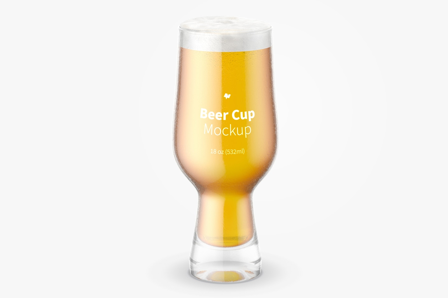 18 oz Glass Beer Cup Mockup, Front View