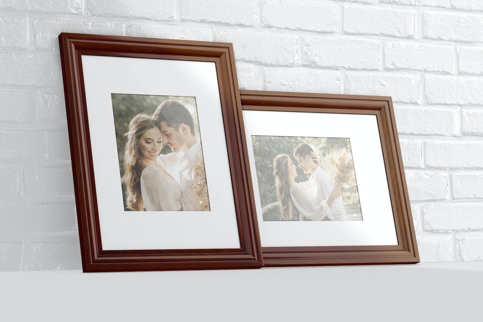 3:4 Photo Frames Mockup, Leaned