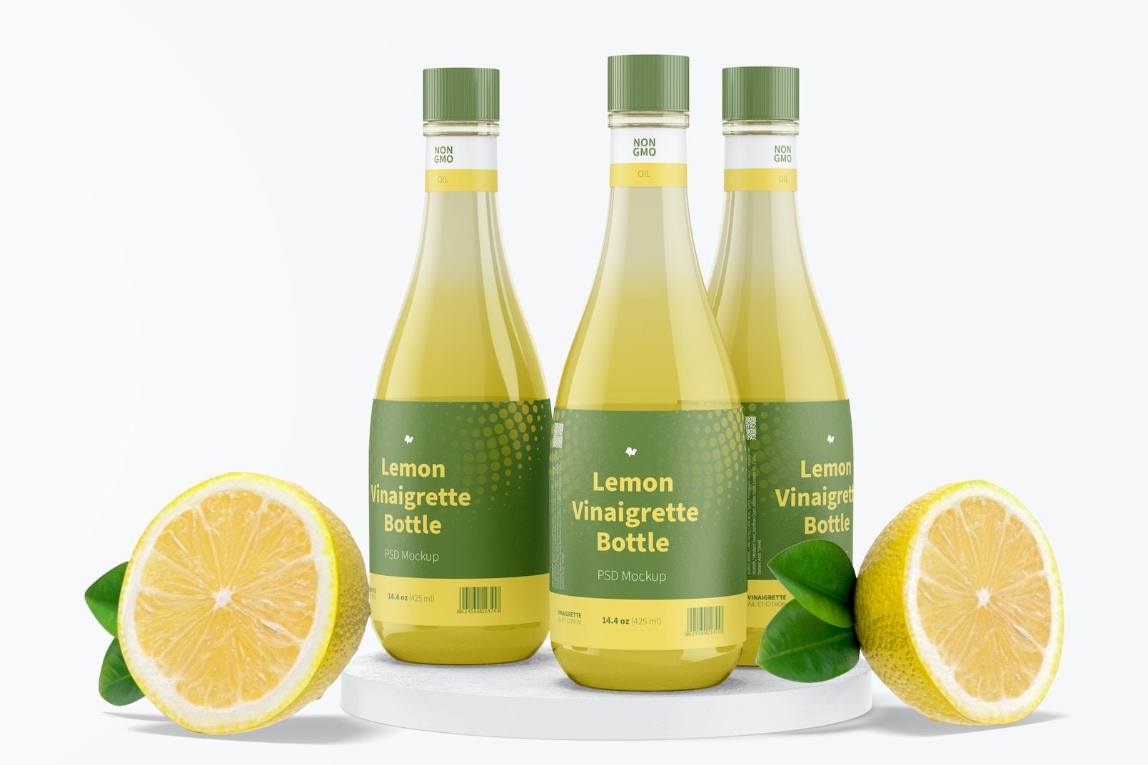 14.5 oz Lemon Vinaigrette Bottles Mockup