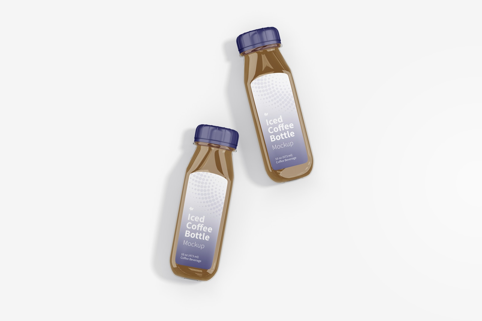 Iced Coffee Glass Bottles Mockup, Top View