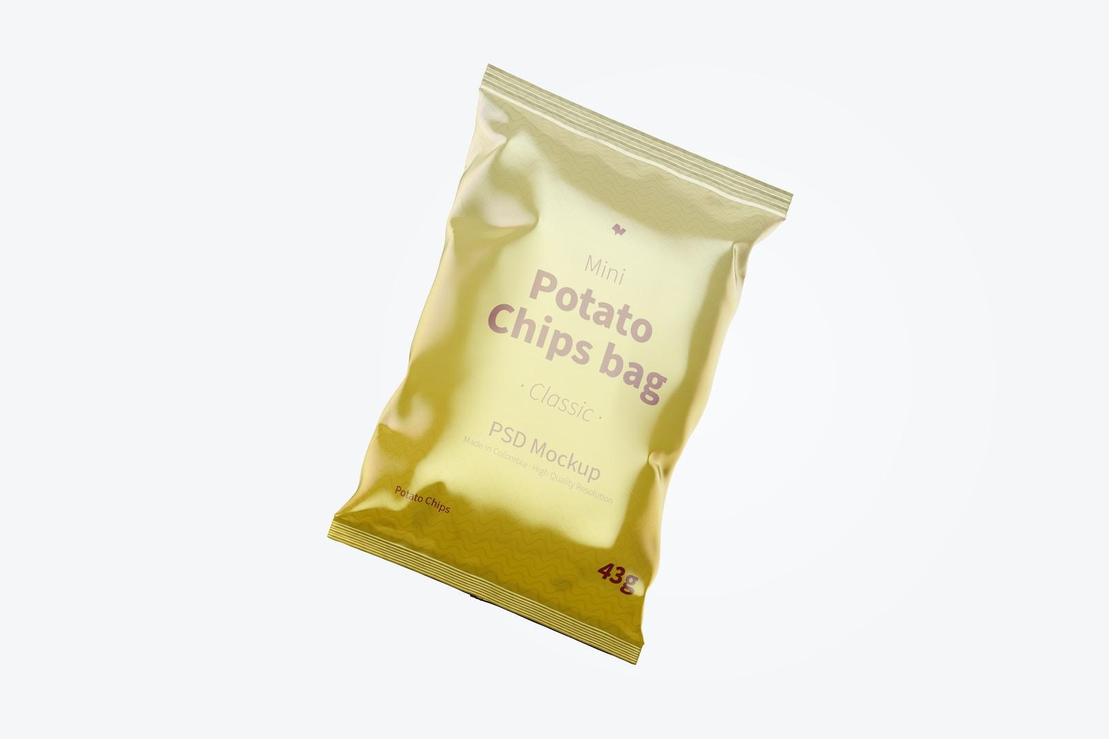 Glossy Mini Potato Chips Bag Mockup