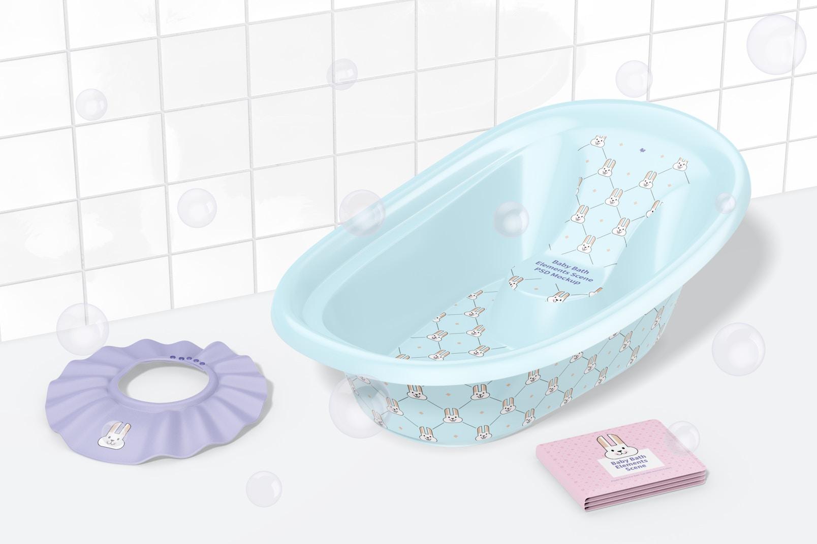 Baby Bath Elements Scene Mockup, Right View