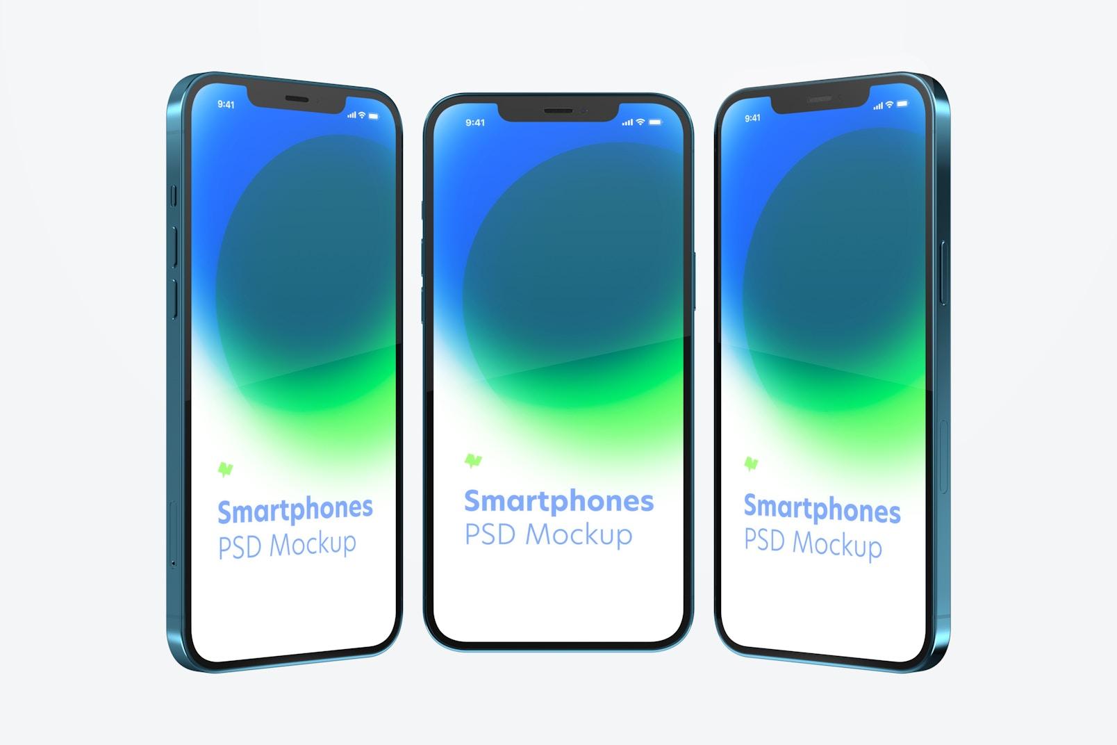 Maqueta de iPhone 12, Vista de Frente y de Lado