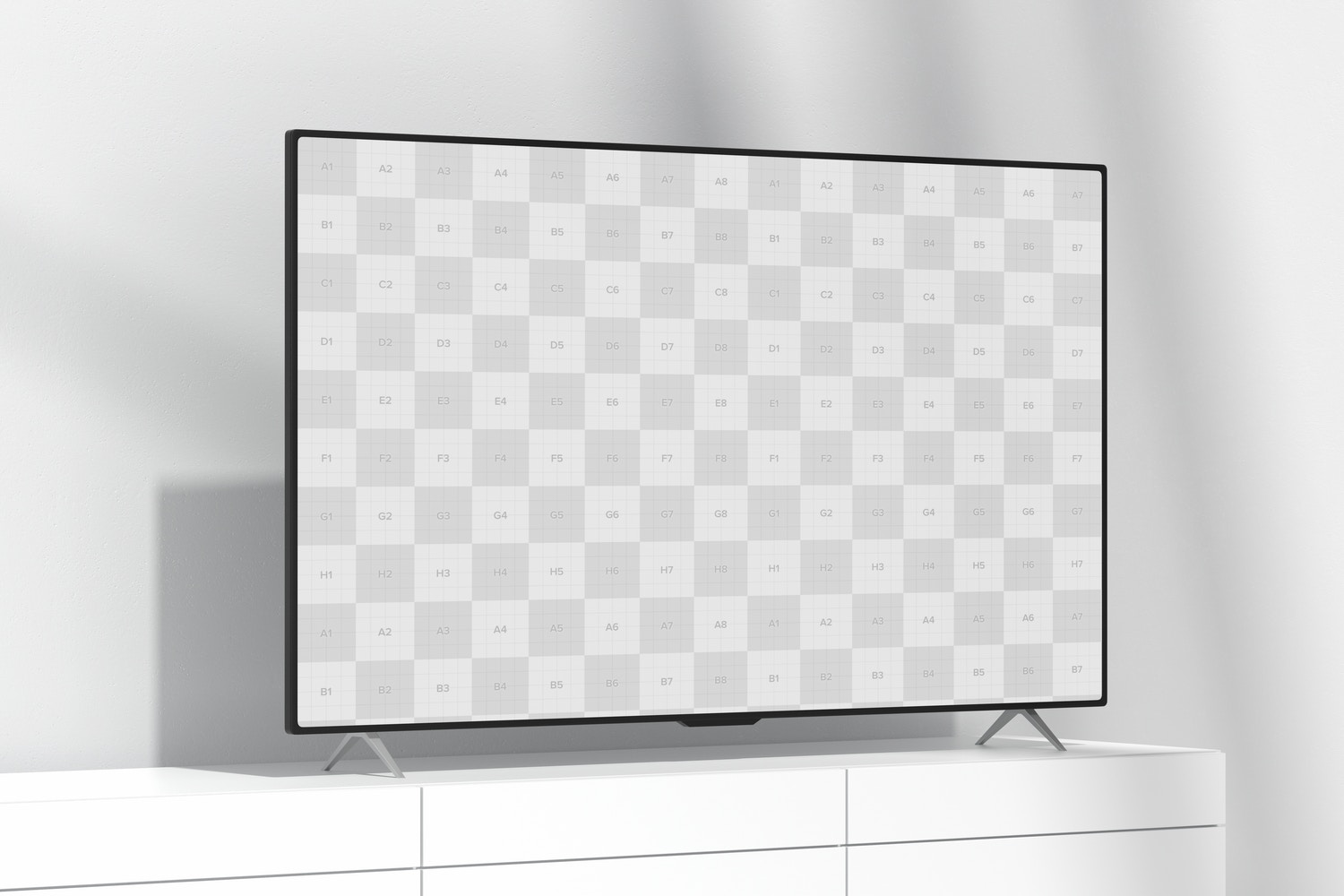 """TV 85"""" on Table Mockup, Right View"""