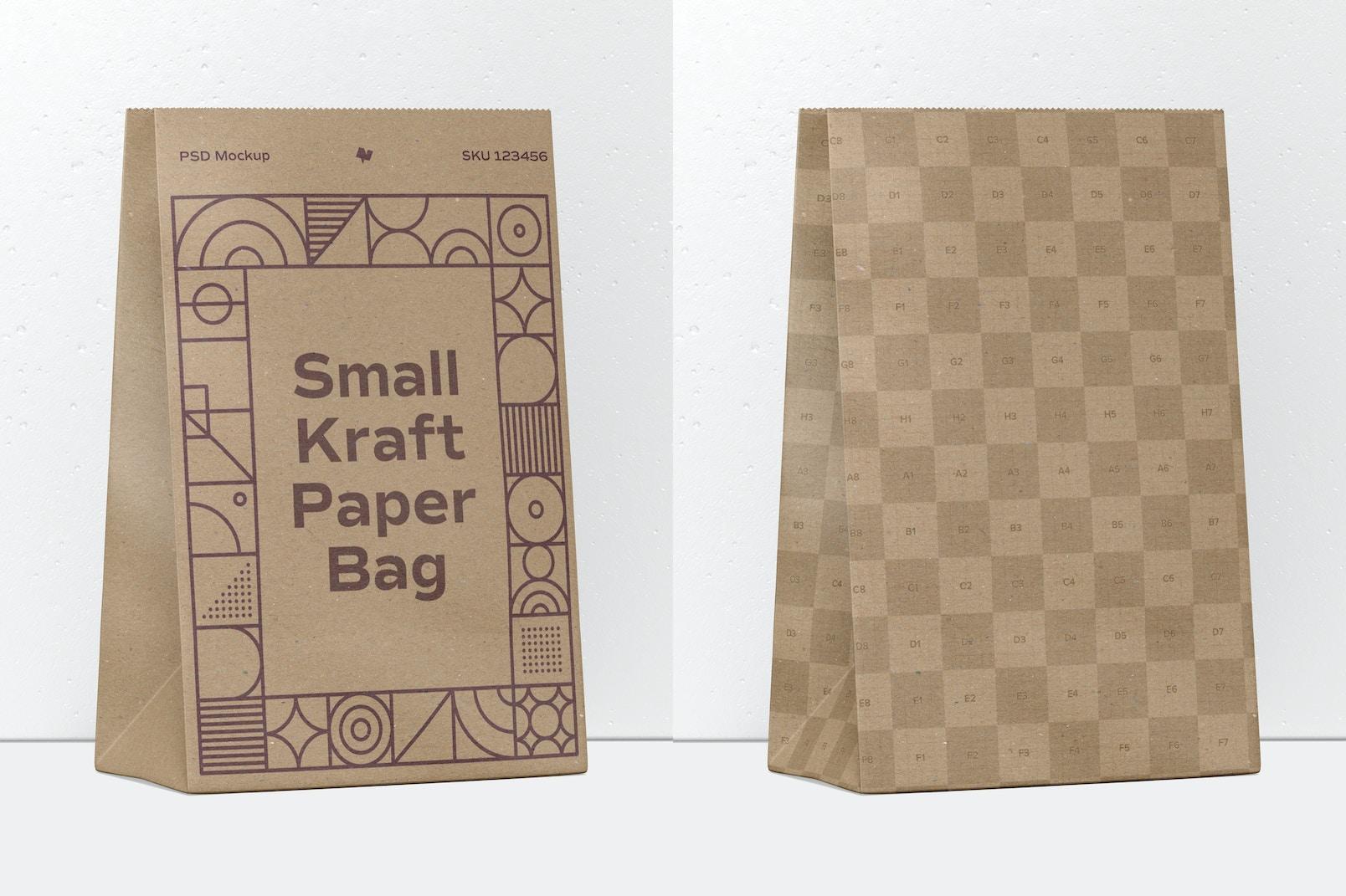 Small Kraft Paper Bag Mockup, Perspective