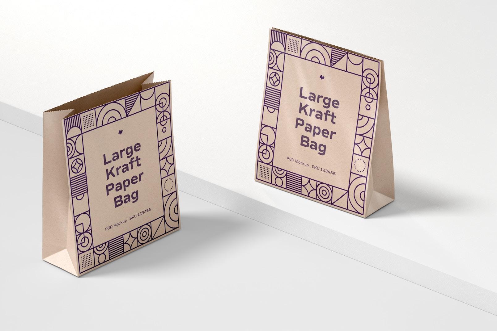 Large Kraft Paper Bags Mockup