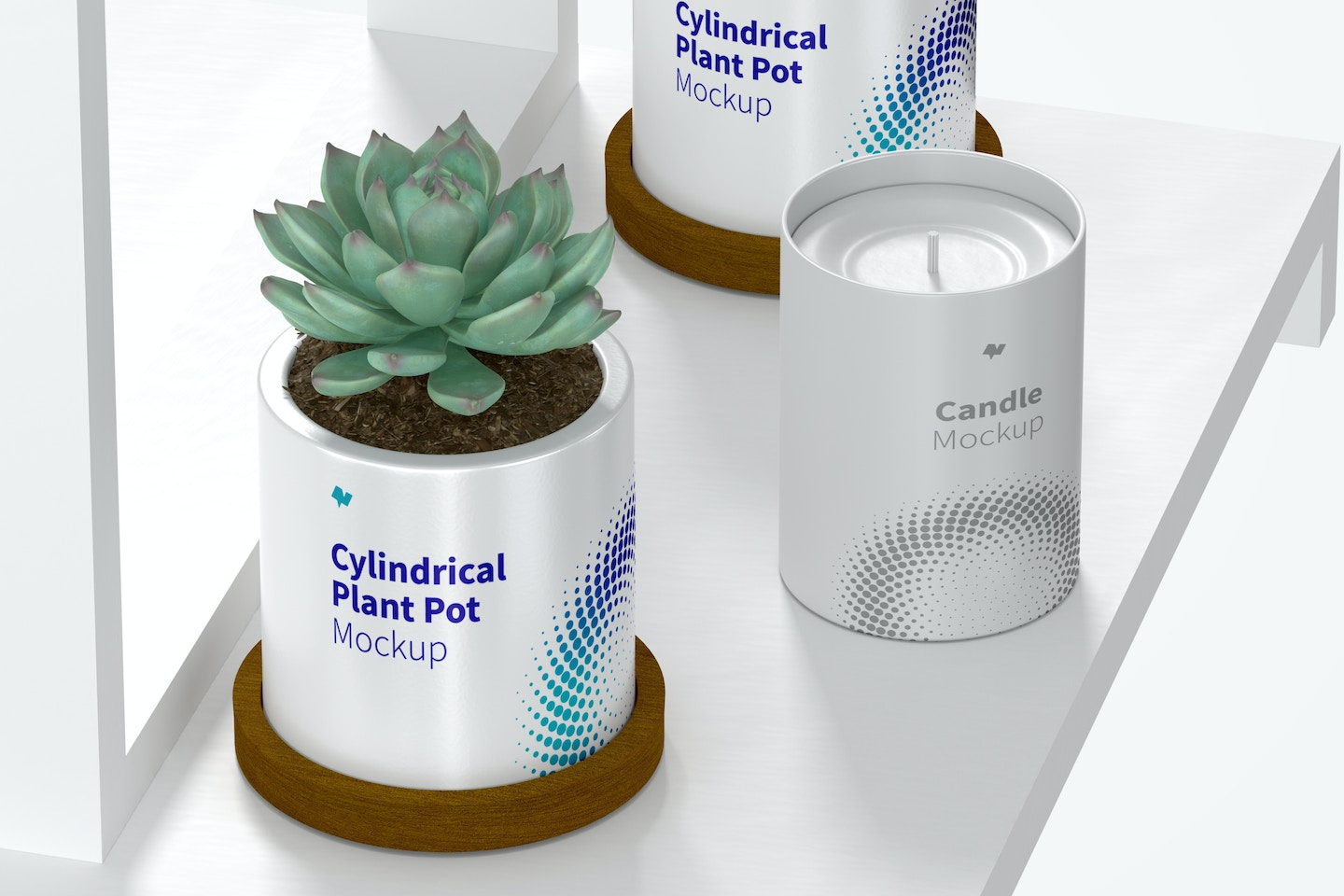 Ceramic Cylindrical Plant Pot and Candle Mockup