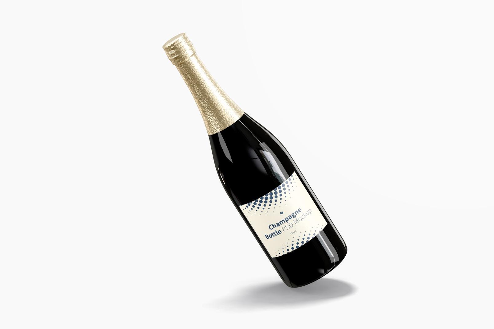 Champagne Bottle Mockup, Leaned