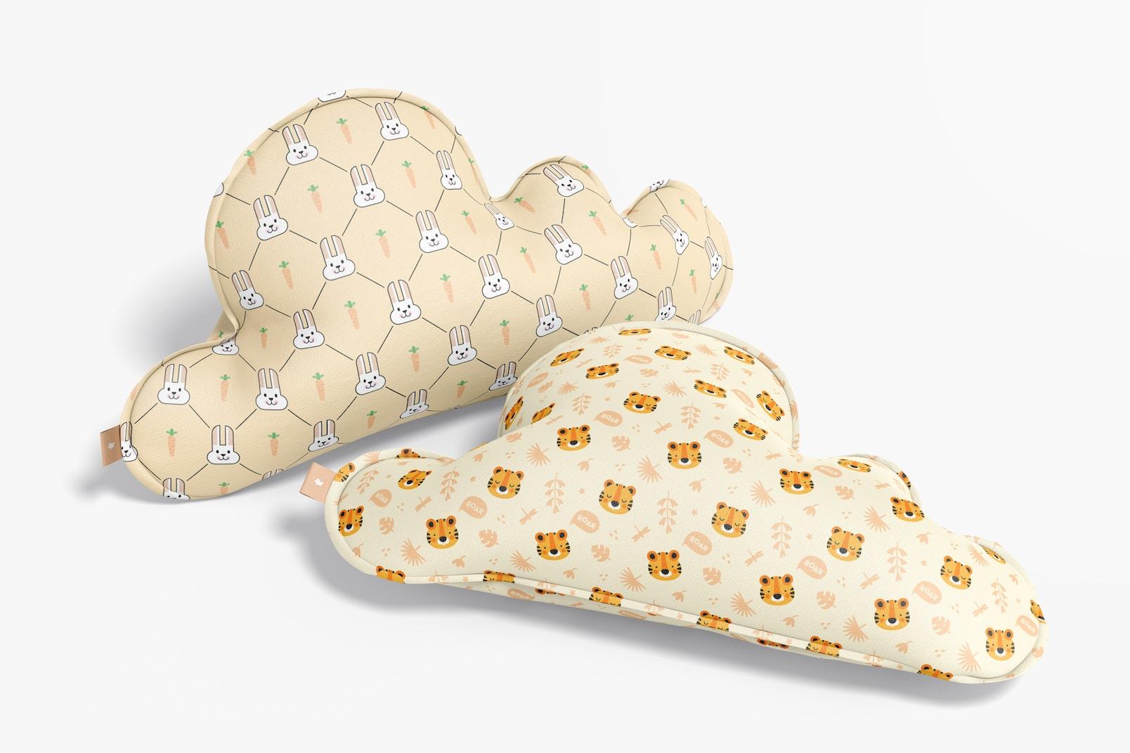 Cloud Pillows Mockup, Perspective