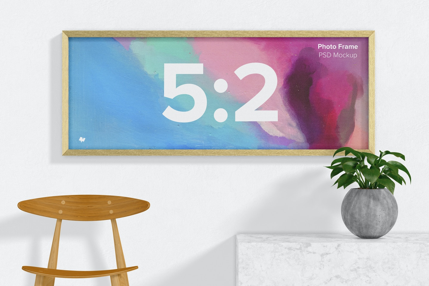 5:2 Photo Frame with Plant Mockup