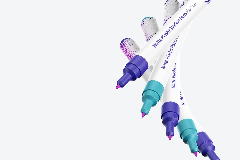 Matte Plastic Marker Pens Mockup, Floating