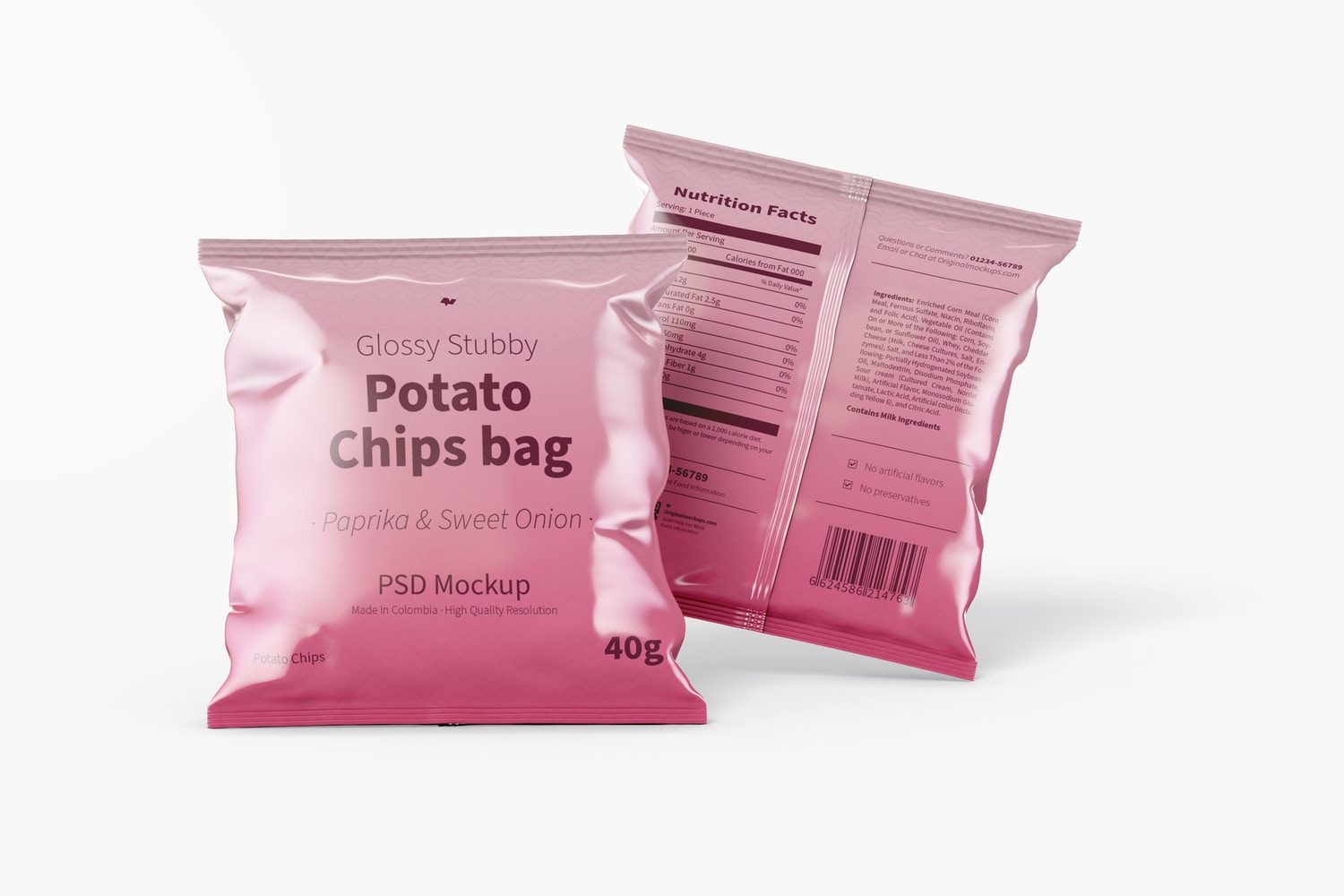 Glossy Stubby Chips Bags Mockup