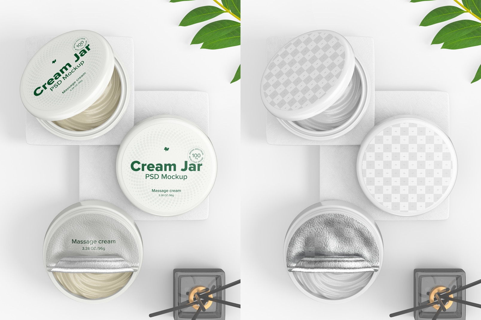 3.38 oz Cream Jars Mockup