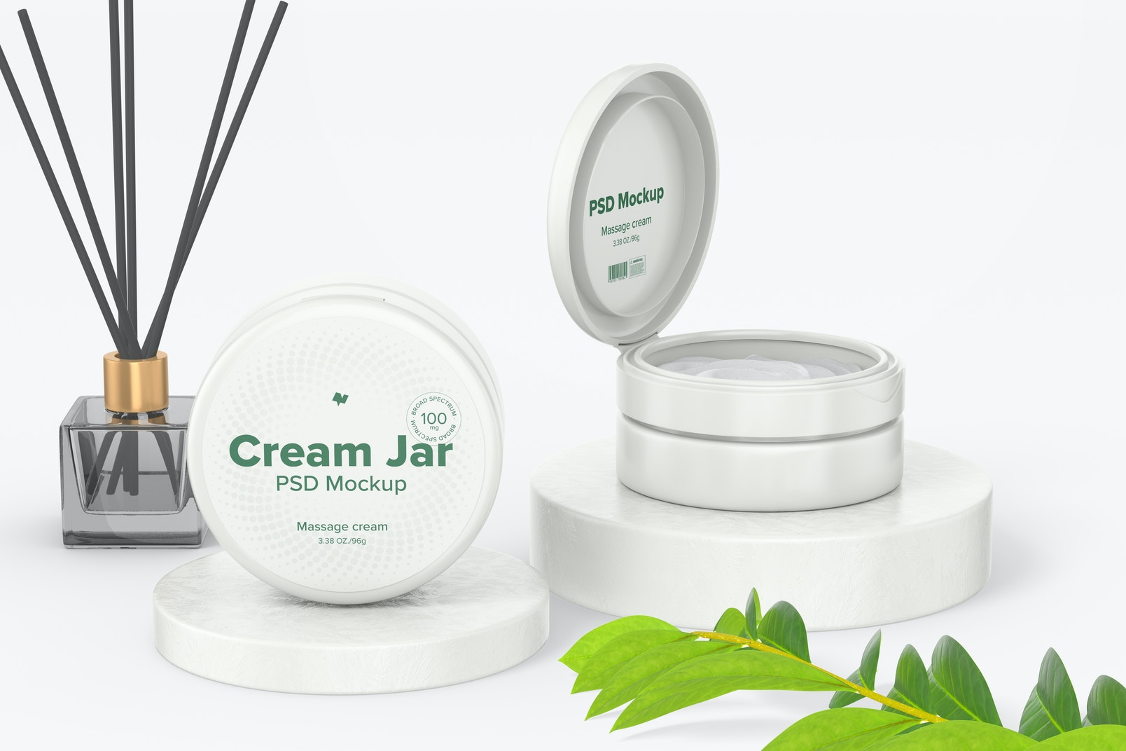 3.38 oz Cream Jars Mockup, Perspective View