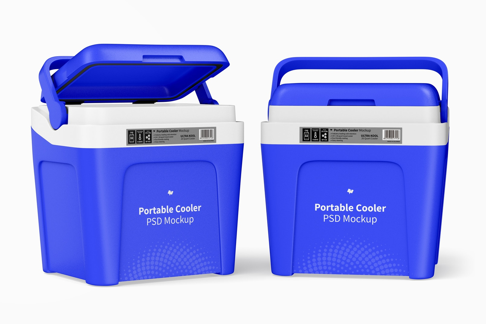 Portable Coolers Mockup, Opened and Closed