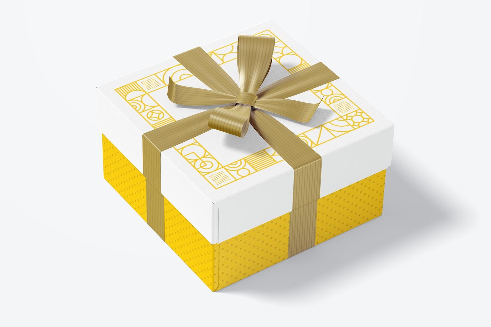 Big Gift Box With Ribbon Mockup