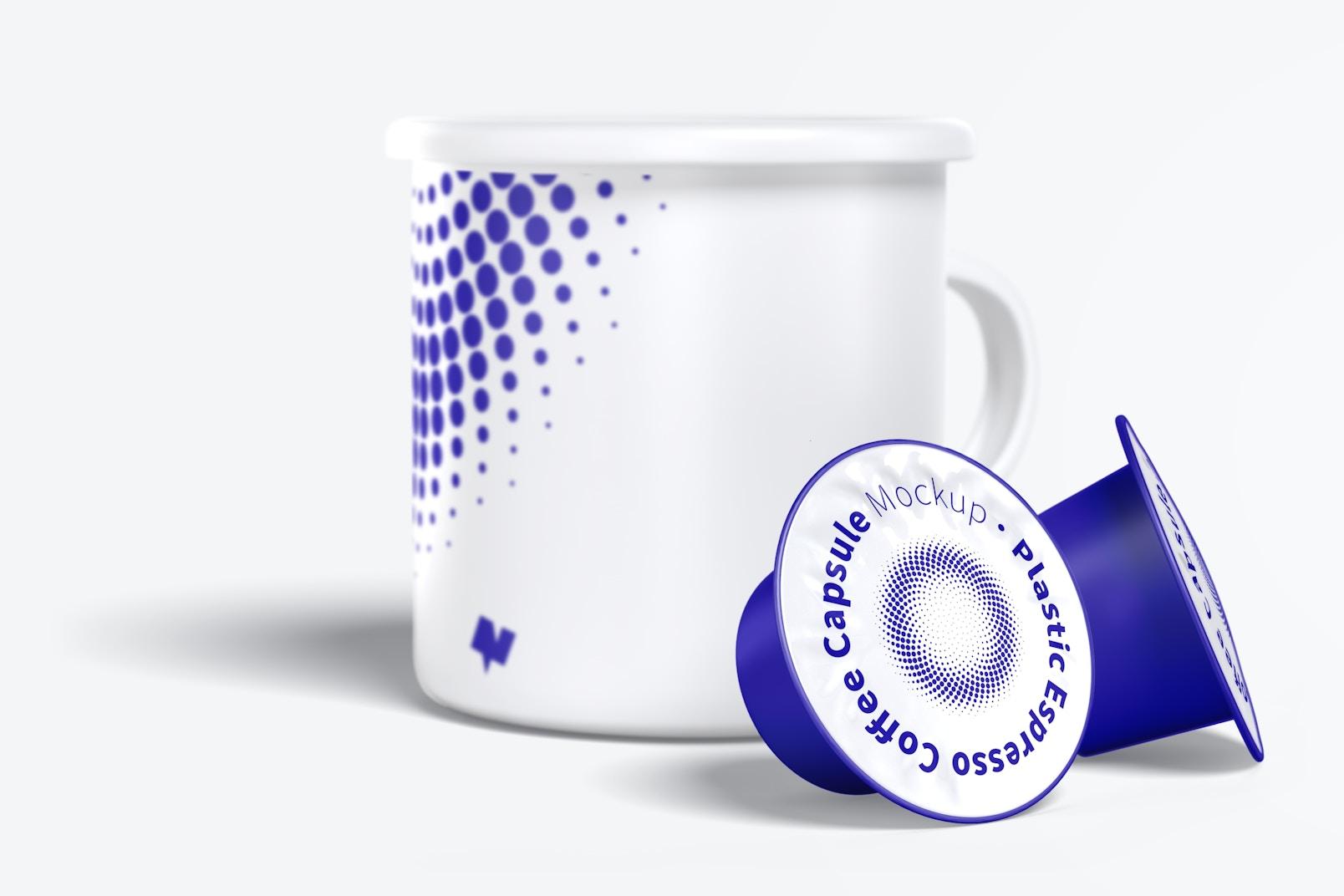 Plastic Espresso Coffee Capsules Mockup with Mug