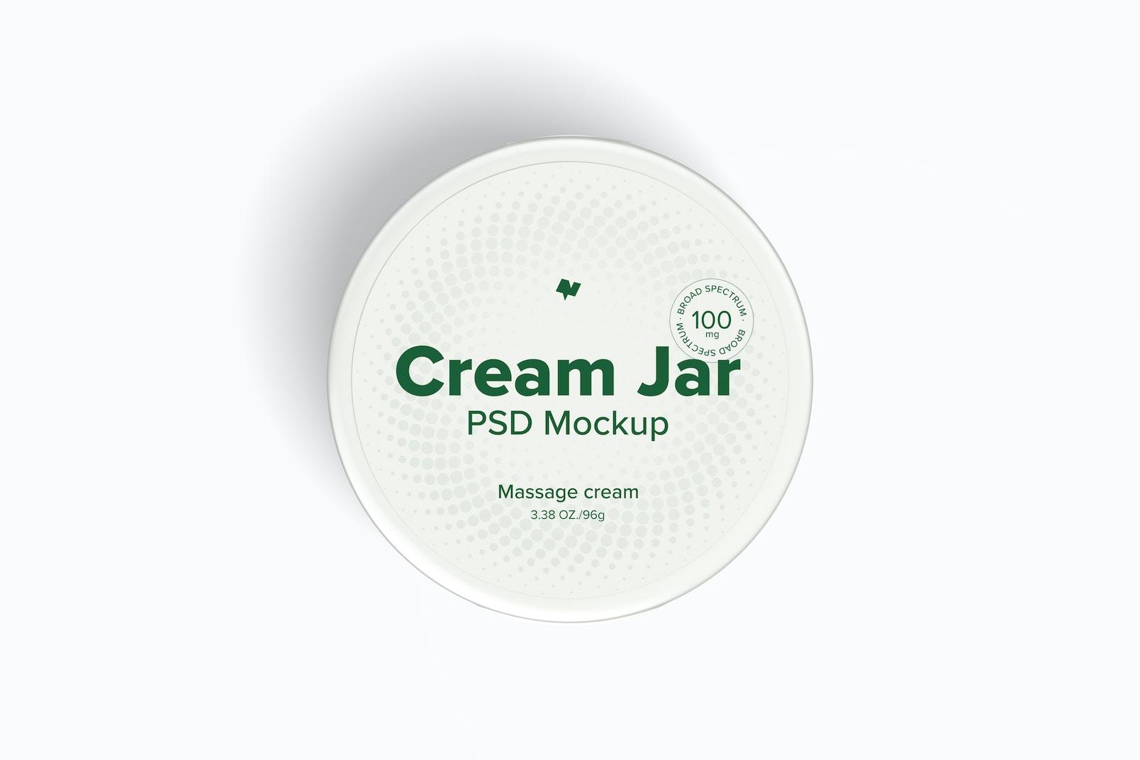 3.38 oz Cream Jar Mockup, Top View