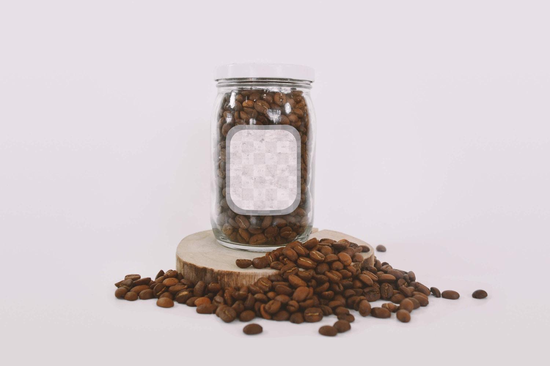 Glass Jar with Coffee Mockup