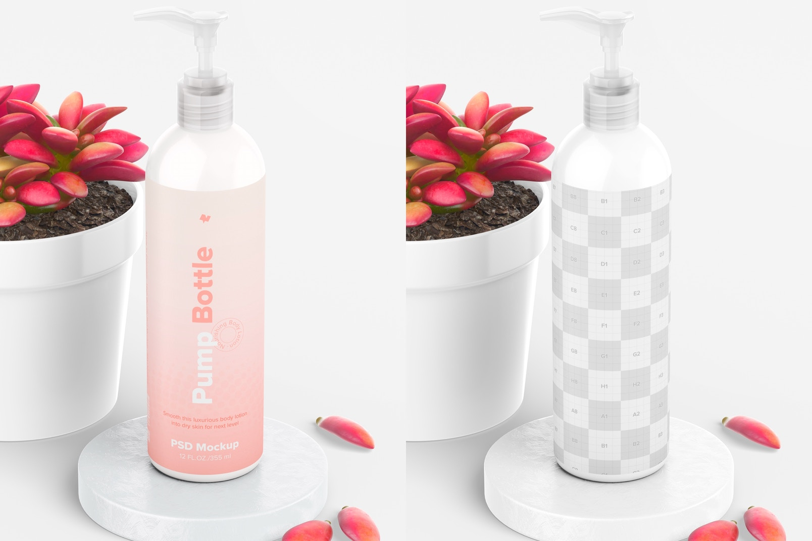 12 oz Pump Rounded Bottle with Pot Plant Mockup