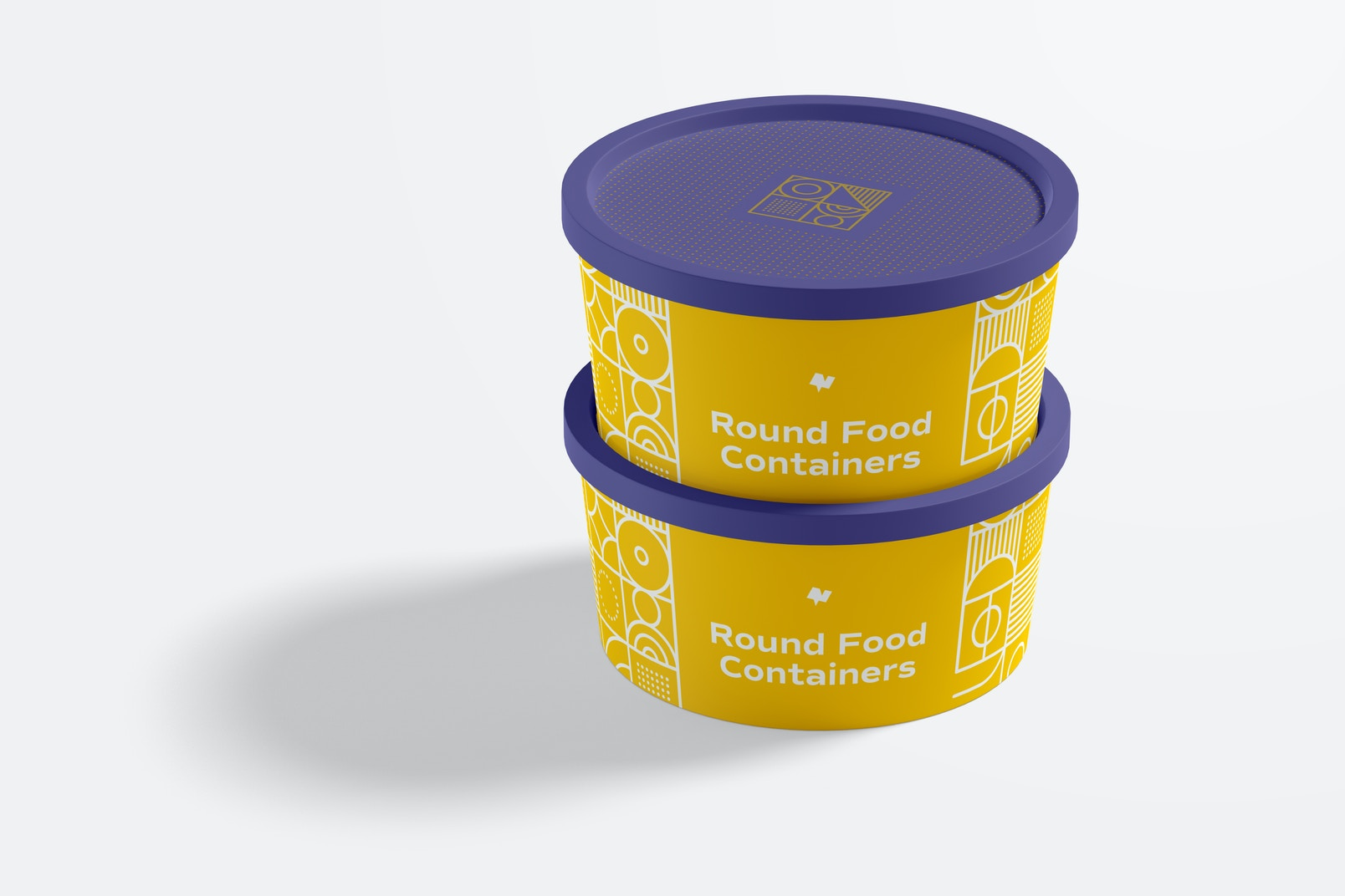 Round Plastic Food Delivery Containers Mockup, Closed