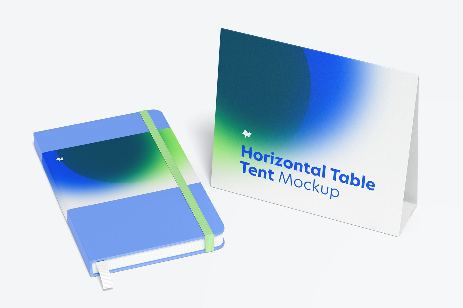 Horizontal Table Tent Cards Mockup, Right View