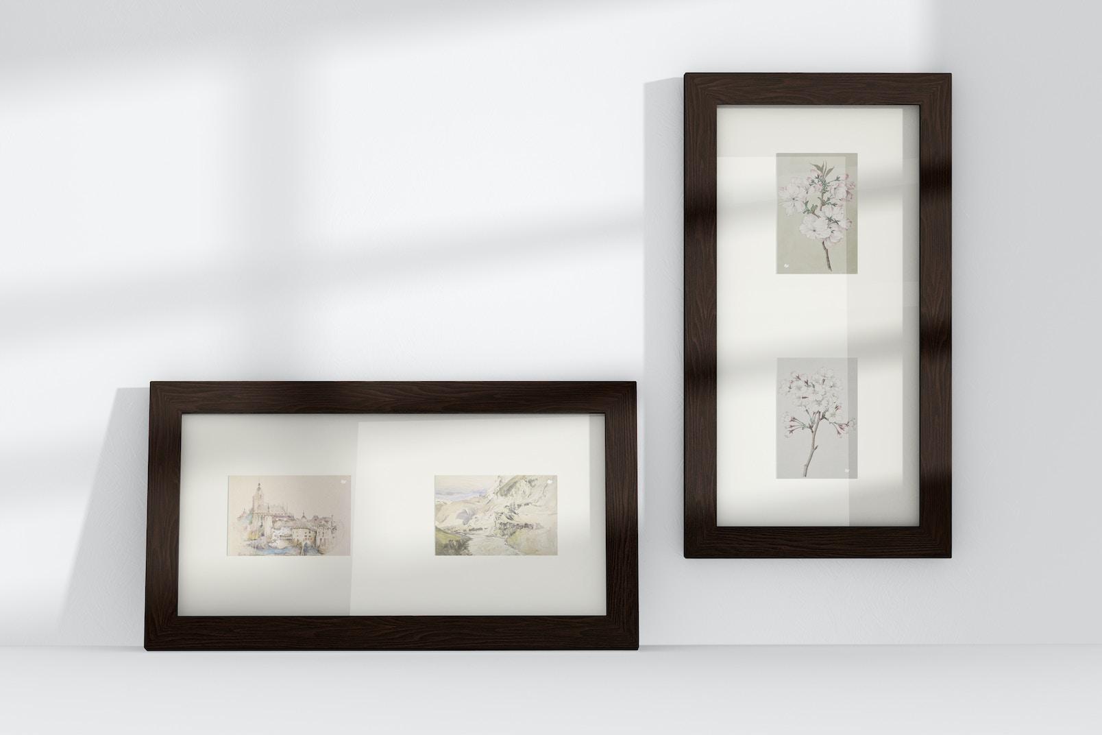 4:6 Multiple Photo Frames Mockup, Leaned