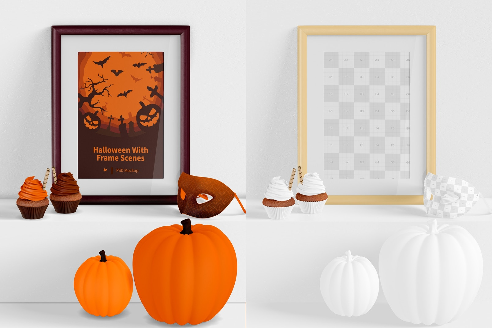 Halloween with Frame Scene Mockup, on Surface