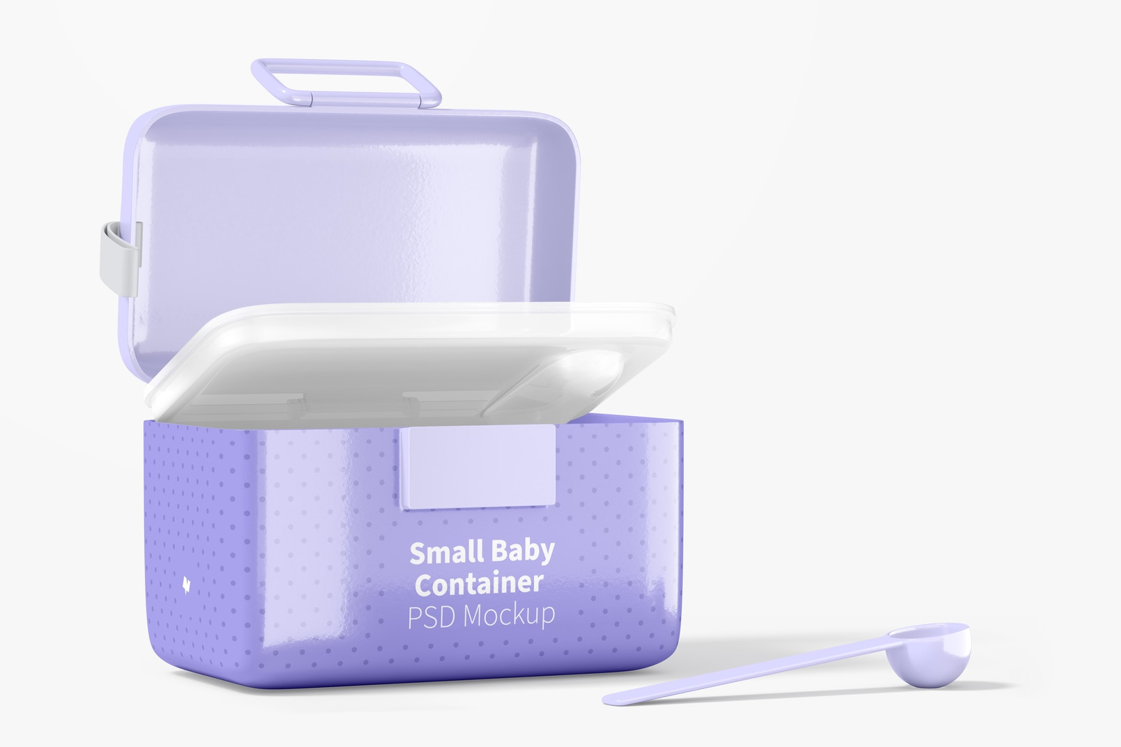 Small Baby Milk Powder Container Mockup, Opened