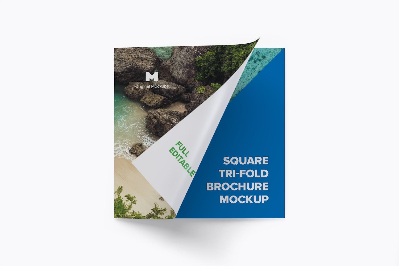 Square Tri-Fold Brochure Mockup 03