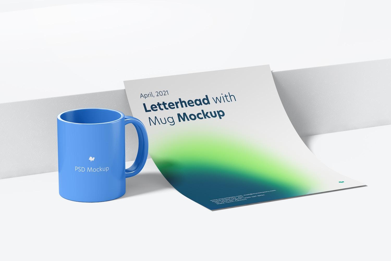 Letterhead with Mug Mockup