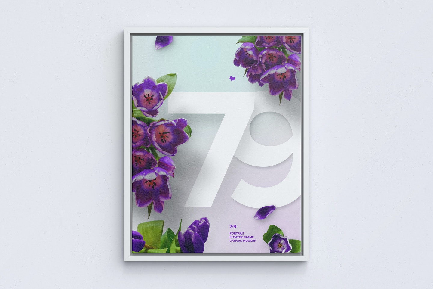 7:9 Portrait Canvas Mockup in Floater Frame, Front View