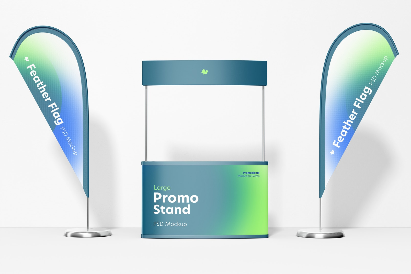 Large Promo Stand with Feather Flags Mockup