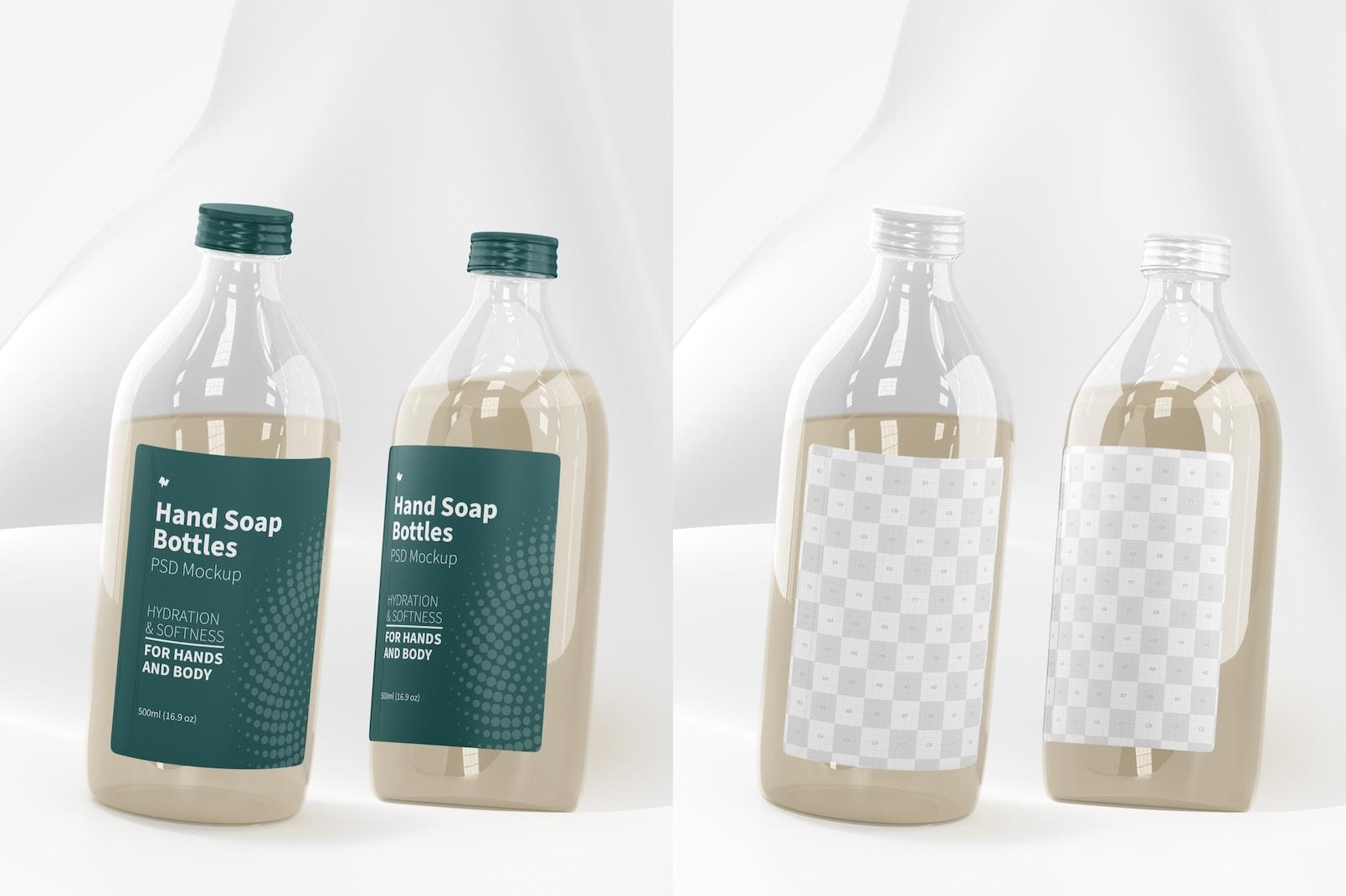 Hand Soap Clear Bottles Mockup