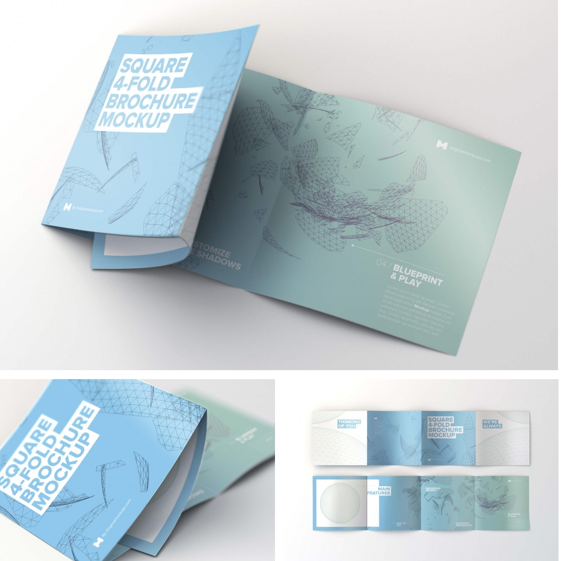 Square 4 Fold Brochure Mockups by Original Mockups on Original Mockups