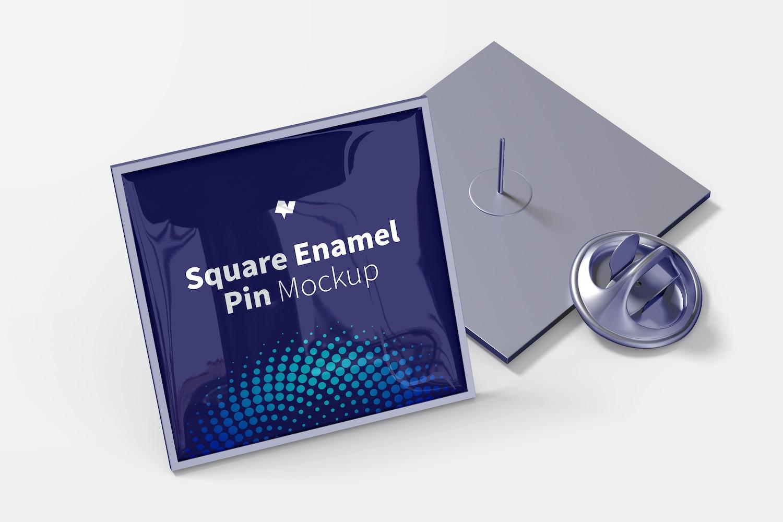 Square Enamel Pins Mockup