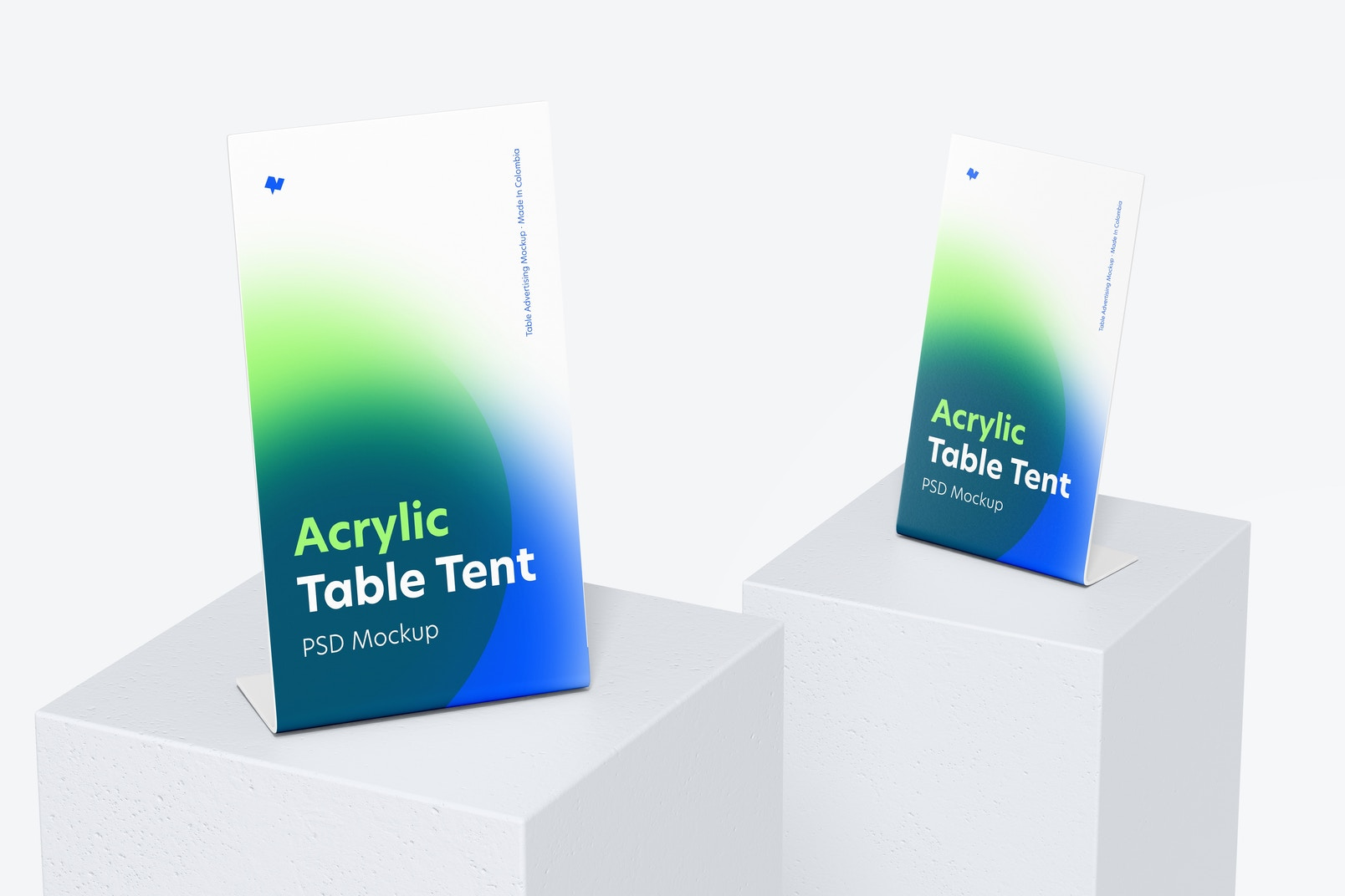 Acrylic Table Tents Mockup, Perspective