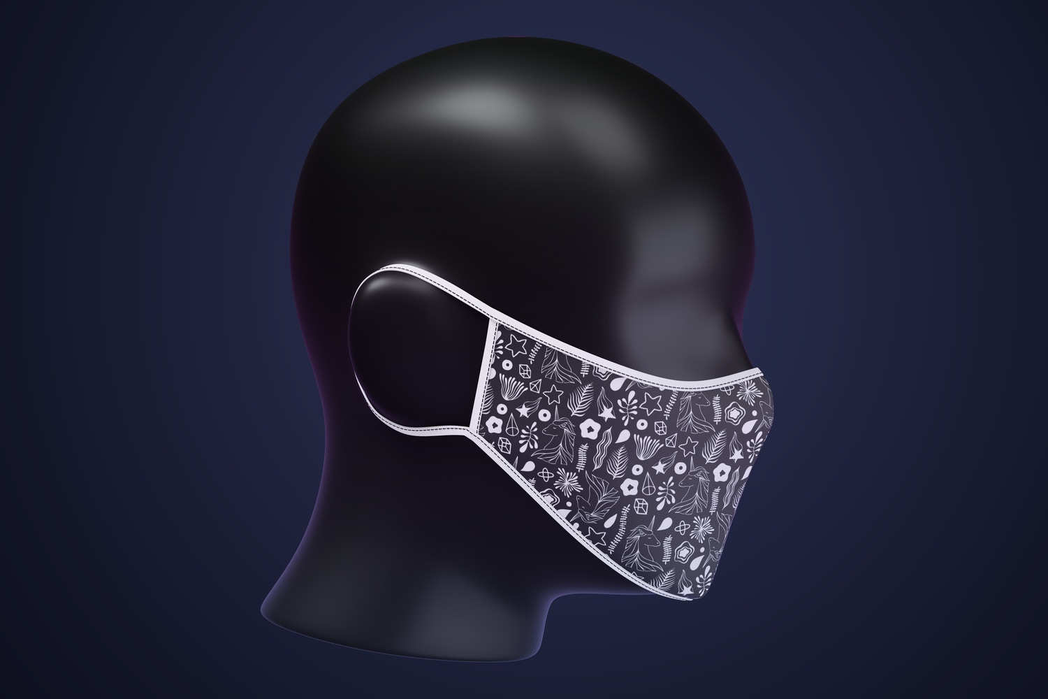 Face Mask Mockup, Right Side View