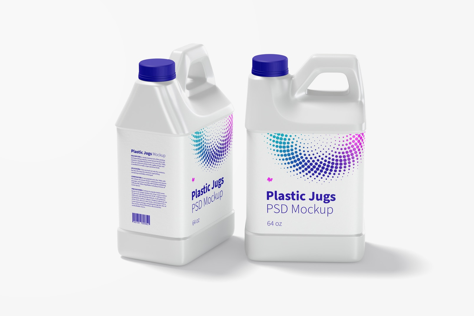 64 oz Plastic Jugs Mockup, Side and Front View