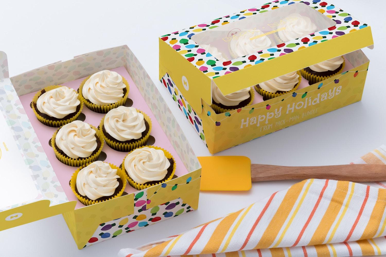 Six Cupcake Box Mockup 03