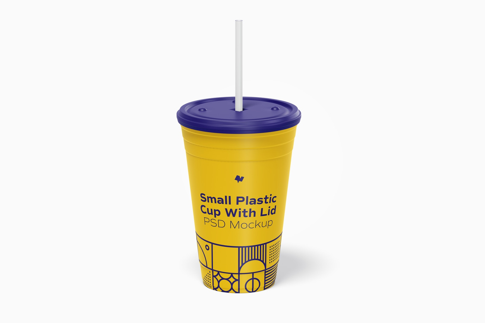 Small Plastic Cup with Lid Mockup, Front View