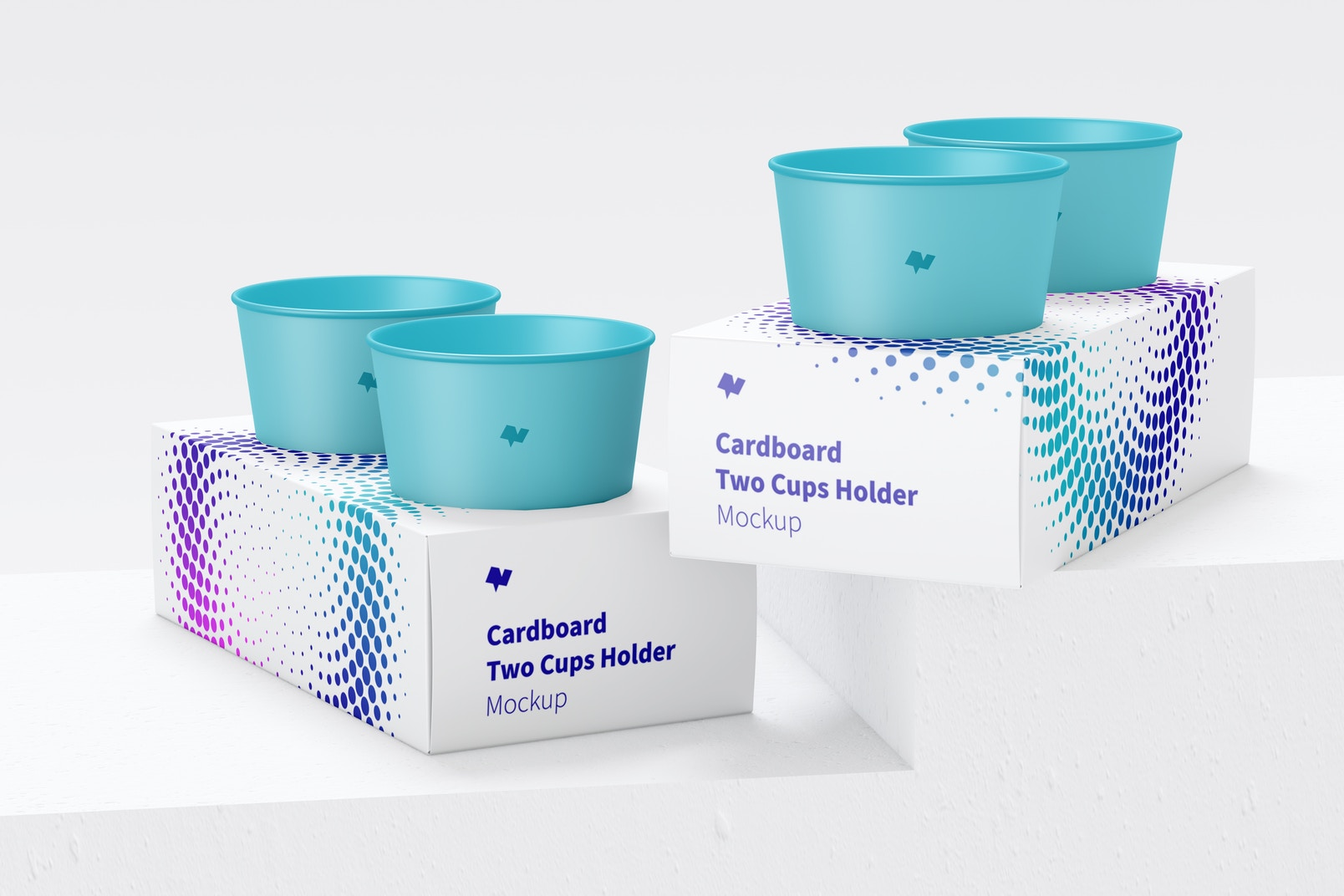 Cardboard Two Cups Holders Mockup