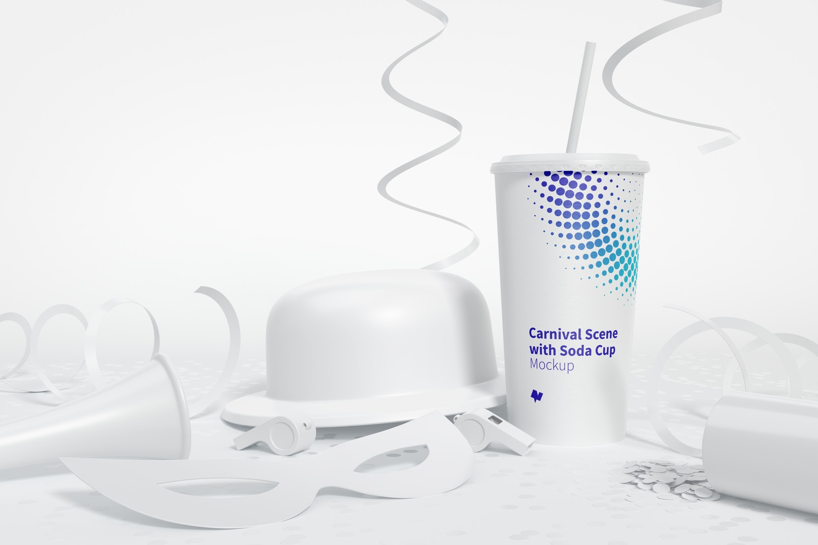 Carnival Scene with Soda Cup Mockup, Front View